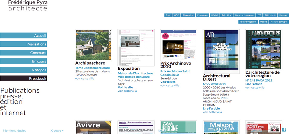 Page comportants les pressbook de l'architecte